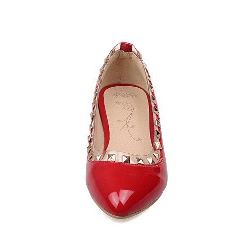 Balamasa Ladies Slip-on Low-heels Tachonado Charol-bombas-zapatos Rojo