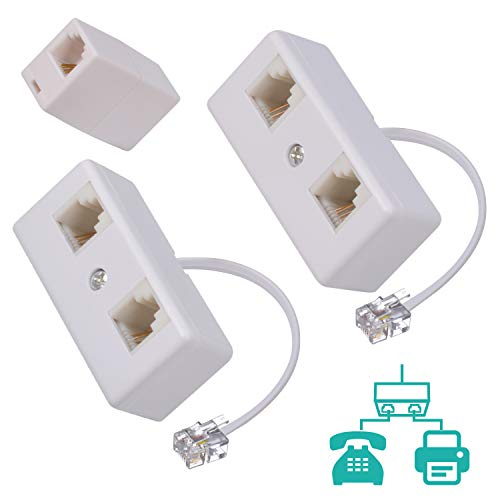 Phone Splitter 1 to 2, Landline Converter, Telephone Wall Jack Adapter for Landline and Fax Machine with Rj11 Coupler (2packs)