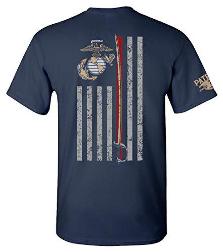 Patriot Apparel Thin Line USMC Marine Corps T-Shirt Tee (X-Large, Navy)