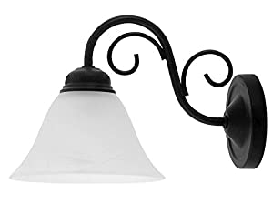 Rabalux Applique Lampe Luminaire Murale Intérieur Style Maison de Champagne Noir Mat/Verre Albâtre 7811n