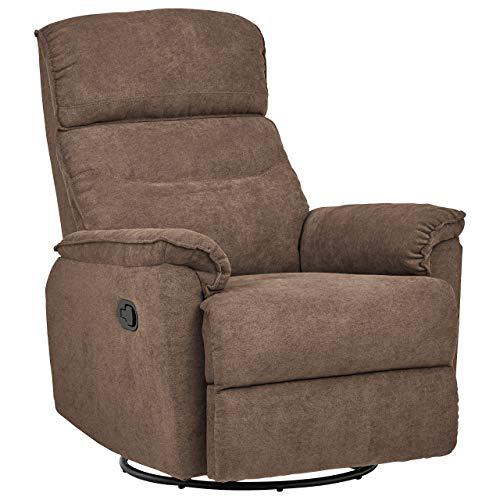 Ravenna Home Pull Recliner with Rotating 360 Swivel Glider,  Living Room Chair, Fabric, Smokey Grey (Swivel Rocker Flexsteel Recliner)
