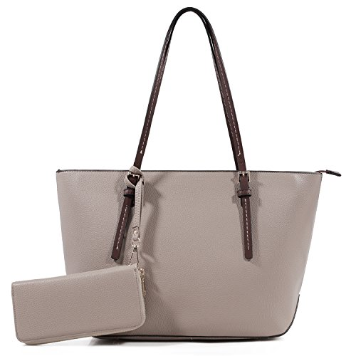 DELUXITY Amber Zippered Tote Shoulder Bag with Matching Clutch Wallet - 2 Item Set (Taupe)