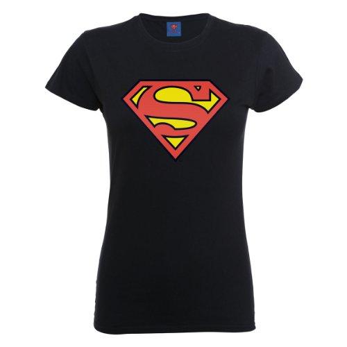 DC Comics - Camiseta de manga corta con cuello redondo para mujer, Negro, 36