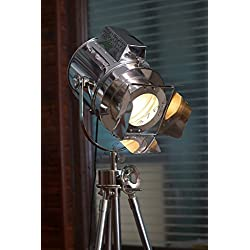 Huge Vintage Designs Sealight Adjustable Theater Searchlight Tripod Floor Lamp - Chrome Finish Industrial Nautical Floor Lamp