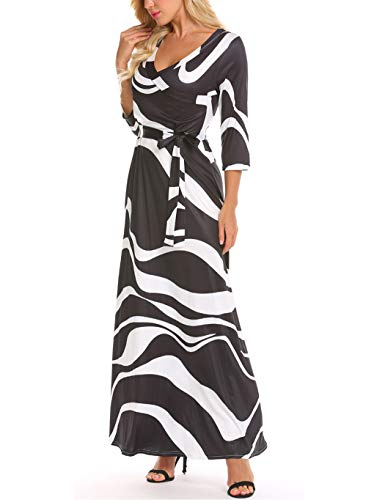 Locryz Women's V Neck 3/4 Sleeve Digital Floral Printed Party Loose Long Maxi Dress with Belt S-3XL (XXL, 06 Black White)