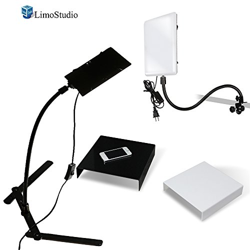 LimoStudio 2 Packs of LED Light Panel with Gooseneck Extionsion Adapter and Mini Table Top Light Stand, Black and White Photo Background Table, Photo Video Lighting Kit, Photo Studio, AGG2209 by LimoStudio