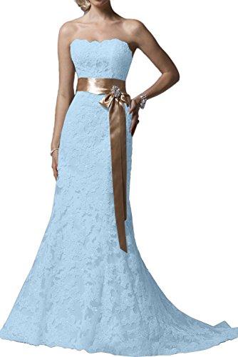 Festkleid Traegerlos Abendkleider Ivydressing Damen Hellblau Traumhaft Lang Spitzenklaider Promkleider Yw7Twx