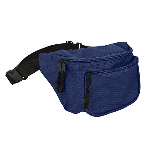DALIX 3 Pocket Fanny Pack Money Pouch Concealer (Navy Blue)