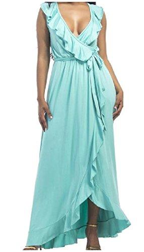 Coolred Flounced Elegant Light Pluse Dress Deep Maxi Size Womens V Blue Neck OvOFUyc