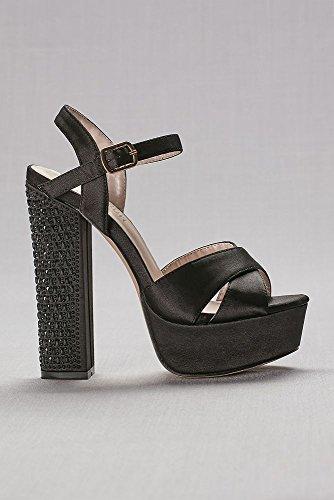 Sandales De Plate-forme De Mariage Davids Avec Talon Chunky Embelli Style Caroline3 Marine