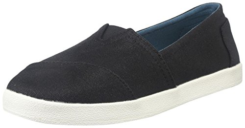 TOMS Women's 10006322 Black Coated Canvas Avalon' Fashion Sneaker, 7 M US -