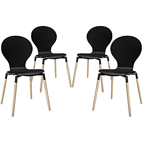Modway Path Dining Chair Black Set Of 4