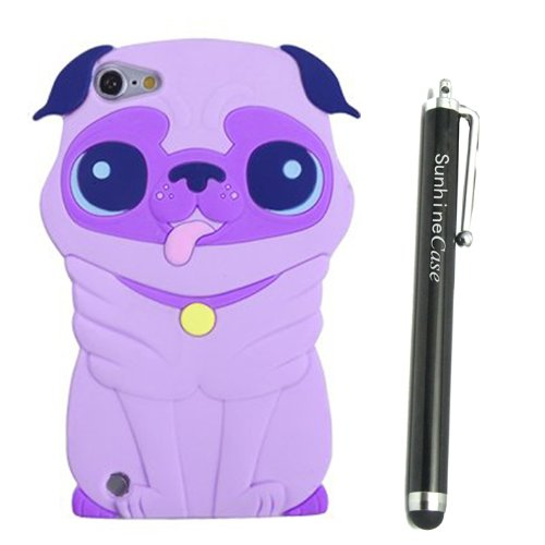 Purple Dog Silicone Soft Cover Case for Apple iPod Touch 5 5th Gen + SunshineCase stylus (Case Ipod Silicone 5)