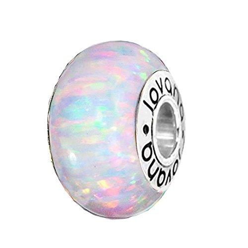 Jovana White Lab Opal Wheel Bead Charm On Sterling Silver