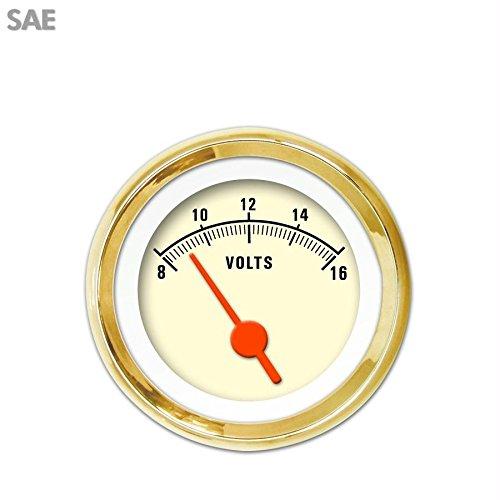 Orange Vintage Needles, Gold Trim Rings, Style Kit Installed Aurora Instruments 1986 Muscle Tan SAE Volt Gauge
