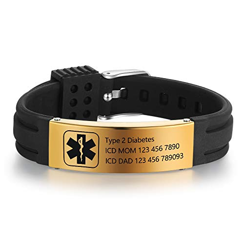 Lam Hub Fong Free Engraving 9 Inches Silicone Adjustable Medical Bracelets Sport Emergency ID Bracelets for Men Women Kids Waterproof Stainless Steel Rubber Alert Bracelets (Black-Gold)
