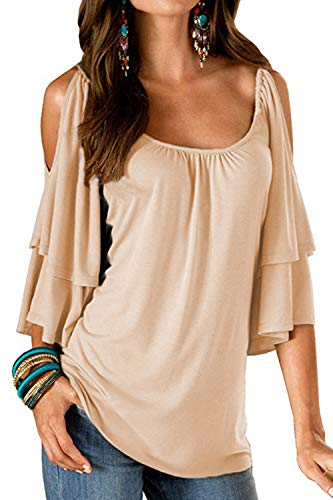 (Merryfun Women's Summer Cold Shoulder Ruffle Sleeve Loose Stretch Tops Tunic Blouse Shirt,Beige 2XL)