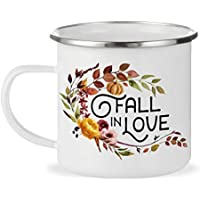 Fall in Love Autumn Coffee Camp Mug, Fall Lover 12oz Enamel Outdoor Camping Mug, Thanksgiving Pumpkin Spice Sweater Weather Cup