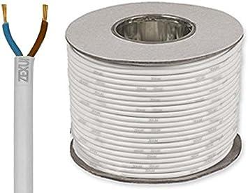 Cut by the Metre 2.5mm 3182y 2 Core White Flex Cable