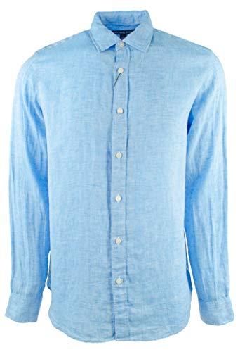 - Michael Kors Men's Classic Fit Cross Dye Linen Long Sleeve Shirt-SB-S