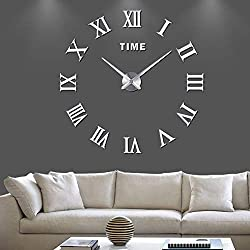 fanyuanfds 3D DIY Wall Clock Frameless Large Clock Silver Apartment Decorations Mute Mirror Wall Stickers