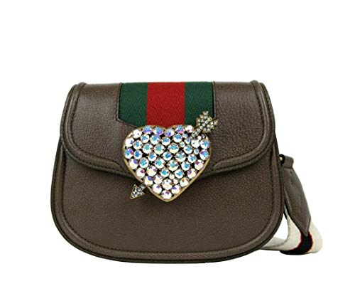 Gucci Women's Brown Leather Jeweled Heart Messenger Bag 500756 2594