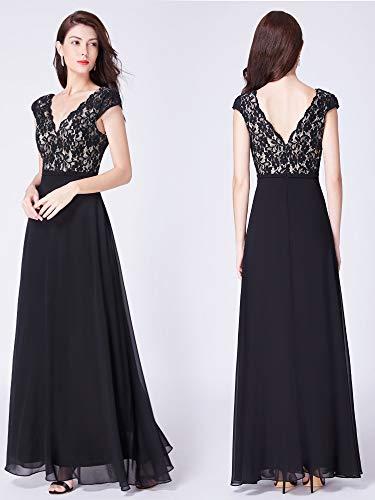 Ever 8633 Las Maxi Fiesta Cuello B Para V Mujeres Vestido Gasa De pretty Elegantes Negro Vestidos AqfrARwO