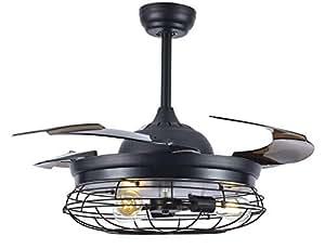 Black Vintage Farmhouse Retractable Ceiling Fan, 3 Light