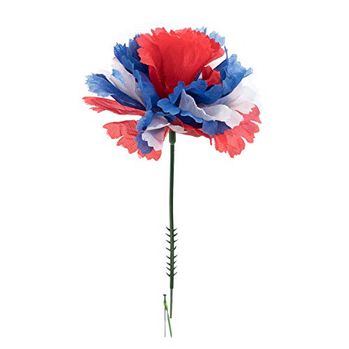 Royal Imports 100 Red/White/Blue Flag Silk Carnations, Artificial Fake Flower for Bouquets, Weddings, Cemetery, Crafts & Wreaths, 5