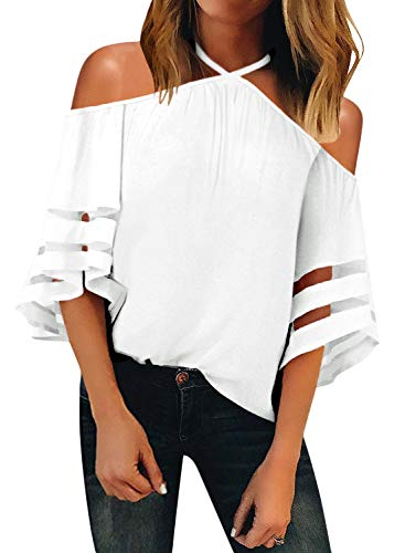 BLENCOT Women's Casual Halter Off Shoulder Sheer Panel 3/4 Bell Sleeve Chiffon Blouses Loose Shirts Tops White - Blouse White Shirt
