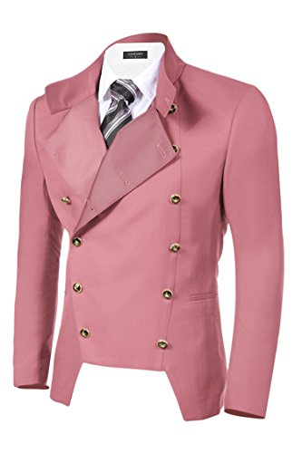 (COOFANDY Men's Casual Double-Breasted Jacket Slim Fit Blazer (XXL, Pink))