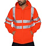 Rambling New Mens Road Work High Visibility Pullover Long Sleeve Hooded Sweatshirt Tops Blouse
