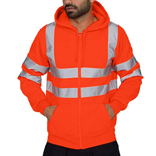 ANJUNIE Mens Professional Waterproof Rain Jacket Lightweight Road Work High Visibility Pullover(Orange,XXXL)