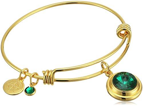Halos & Glories, May Crystal Shiny Gold Bangle Bracelet (May Emerald Crystal)