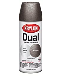 Krylon K08842000 \'Dual\' Superbond Paint and Primer Hammered Finish, Brown, 12 Ounce