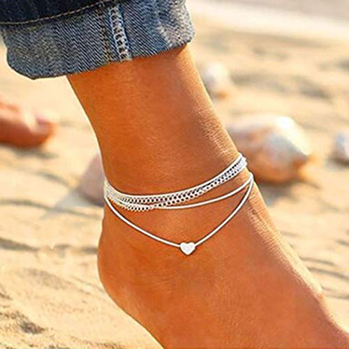 Jovono Boho Heart Anklets Miltilayered Anklet Bracelets Beach Foot Jewelry for Women and Girls (Silver)