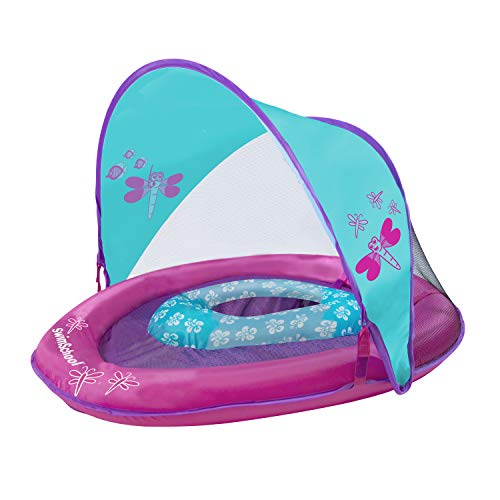 SwimSchool Pink Sunshade Baby Float W/Canopy & Toys
