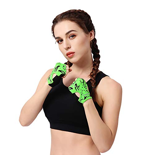 Anser 7150694 Woman Lycra Half Finger Girl Short Fingerless Gloves for Indoor Yoga Gym Fitness Body Building Training Outdoor Cycling Motorcycle Running Exercise (Green, ML)