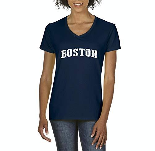 Mom`s Favorite City of Boston Massachusetts State Flag Traveler`s Gift Women's V-Neck T-Shirt Tee (XLNB) Navy -