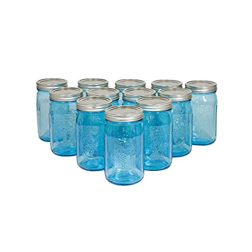 Blue Mason Jars With Lids, Wide Mouth, 32 Ounce, Silver Lid, Embossed, Wedding, Centerpiece, Home, Venue, Glass, Holiday Decor, (Blue), (12 Pack)