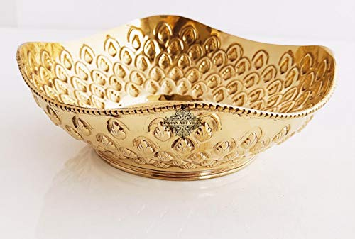 Indian Art Villa Brass Designer Handmade Fruit Basket Chocolate Bowl, Centerpiece Dish, Width:  8.5 #34; Inch
