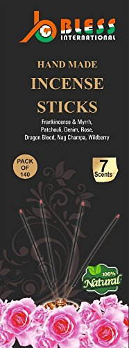 7-assorted-scents-Frankincense-and-Myrrh-Patchouli-Denim-Rose Dragon-blood-Nag-champa-Wildberry 100%-Natural-Incense-Sticks Handmade-Hand-Dipped The-best-140-pack-20-Sticks-each-fragrance - incensecentral.us
