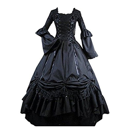 [Fantasy_Outlet Black Square Collar Gothic Victorian Prom Dress (M)] (Bloody Mary Costume)