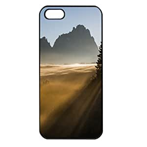 CaseSuper Sunrise Behind The Mountains T1 Natures Designs Apple iPhone 5S Seamless Case (Black)