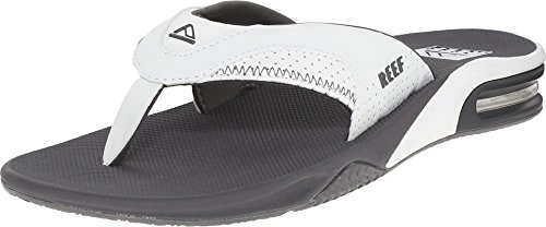 (Reef Men's Fanning Flip Flop, GREY/WHITE, 4 D - Medium)