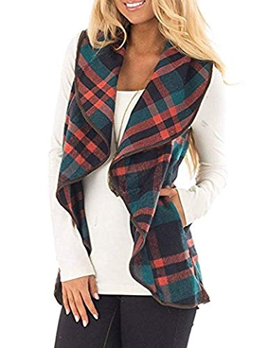 (Unidear Womens Casual Slash Hem Plaid Open Front Cardigan Vest with Pockets Green)