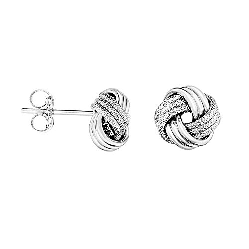Ritastephens 14k Solid White Gold Loveknot Love Knot Stud Earrings 10 ()