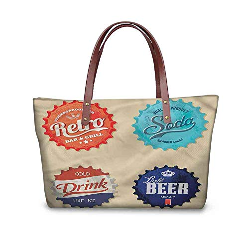Custom Handbag Tote Shopping Bags 1950s,Beer Soda Bottle Caps Design Printing Purses For Women Size:19.2