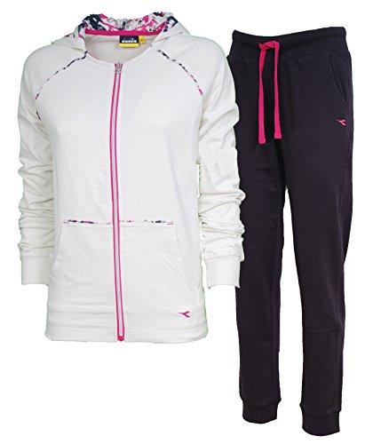 Tuta Donna Diadora 171642 Cotone Grigio Bianco Rosa Casual Palestra