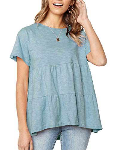 Women's Short Sleeve Flounce Blouse Loose Solid Ruffle High Low Hem Tunic Top Casual Round Neck T Shirt (L, Light Blue) (Color Coat Light Brightener)